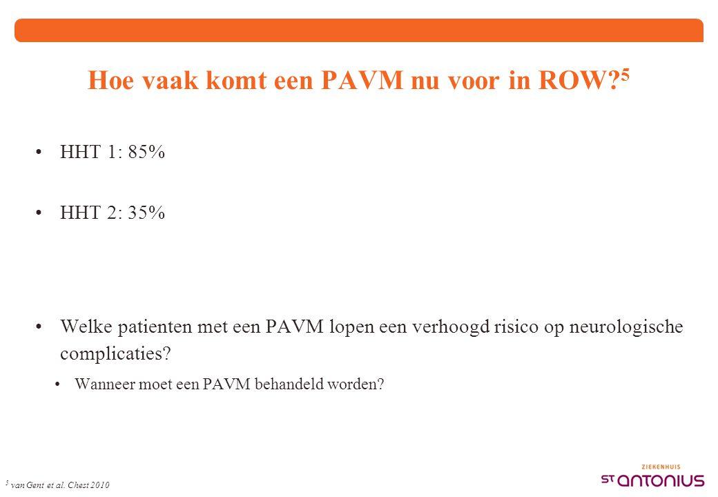 Hoe vaak komt een PAVM nu voor in ROW? 5 HHT 1: 85% HHT 2: 35% Welke patienten met een PAVM lopen een verhoogd risico op neurologische complicaties? W