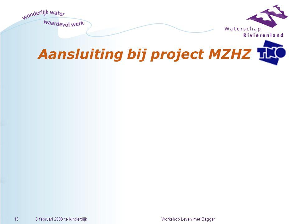 6 februari 2008 te KinderdijkWorkshop Leven met Bagger13 Aansluiting bij project MZHZ