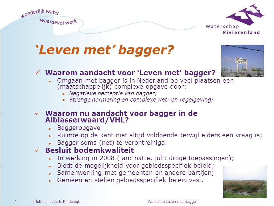 6 februari 2008 te KinderdijkWorkshop Leven met Bagger7 'Leven met' bagger.