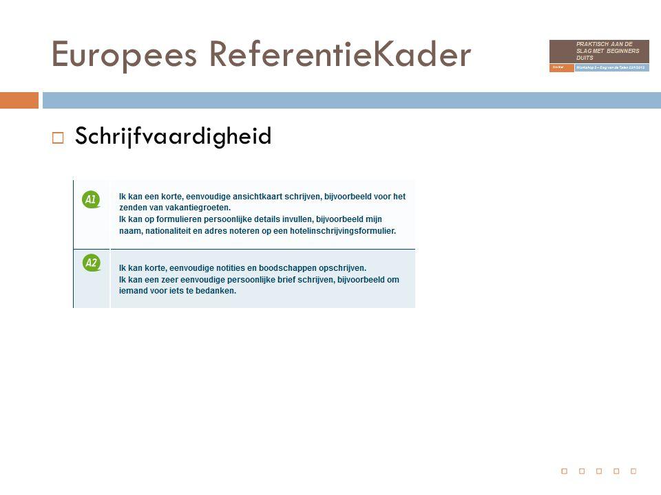 Europees ReferentieKader  Schrijfvaardigheid