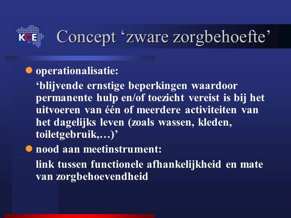 Concept 'zware zorgbehoefte' operationalisatie: 'blijvende ernstige beperkingen waardoor permanente hulp en/of toezicht vereist is bij het uitvoeren v