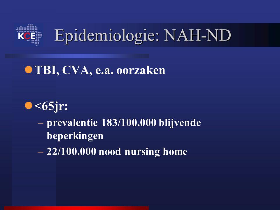Epidemiologie: NAH-ND TBI, CVA, e.a. oorzaken <65jr: –prevalentie 183/100.000 blijvende beperkingen –22/100.000 nood nursing home