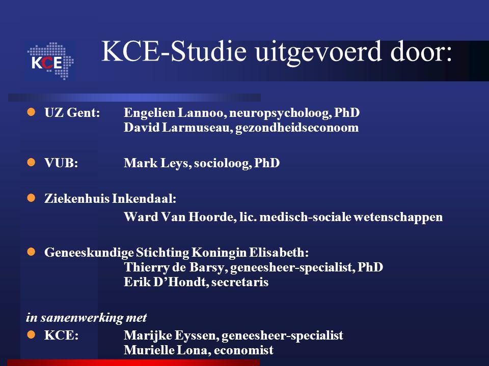 UZ Gent:Engelien Lannoo, neuropsycholoog, PhD David Larmuseau, gezondheidseconoom VUB: Mark Leys, socioloog, PhD Ziekenhuis Inkendaal: Ward Van Hoorde