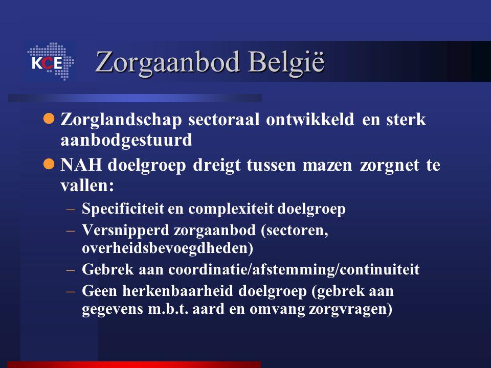Zorgaanbod België Zorglandschap sectoraal ontwikkeld en sterk aanbodgestuurd NAH doelgroep dreigt tussen mazen zorgnet te vallen: –Specificiteit en co