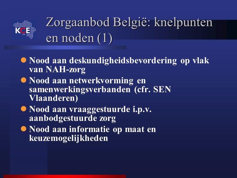 Zorgaanbod België: knelpunten en noden (1) Nood aan deskundigheidsbevordering op vlak van NAH-zorg Nood aan netwerkvorming en samenwerkingsverbanden (