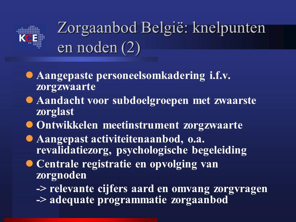 Zorgaanbod België: knelpunten en noden (2) Aangepaste personeelsomkadering i.f.v. zorgzwaarte Aandacht voor subdoelgroepen met zwaarste zorglast Ontwi