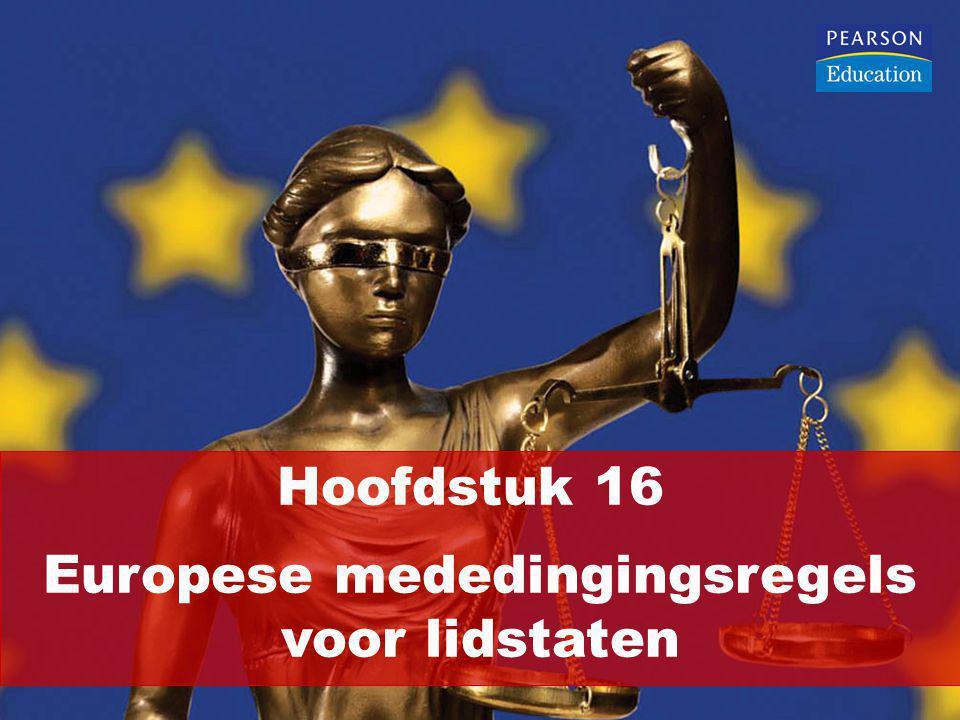 Verbod van selectieve staatssteun: Artikel 107, lid 1, VWEU Steunmaatregelen zijn onverenigbaar met de interne markt wanneer deze: Door de lidstaten of met staatsmiddelen worden bekostigd Ondernemingen begunstigen Bepaalde ondernemingen of bepaalde producties begunstigen (selectieve steun) De mededinging (dreigen te) vervalsen voorzover deze steunmaatregelen het handelsverkeer tussen de lidstaten ongunstig beïnvloeden