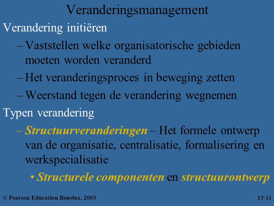 Veranderingsmanagement Verandering initiëren –Vaststellen welke organisatorische gebieden moeten worden veranderd –Het veranderingsproces in beweging