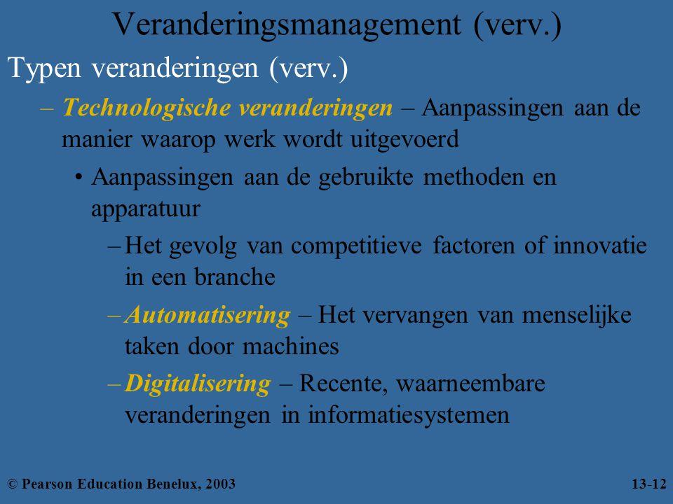 Typen veranderingen (verv.) –Technologische veranderingen – Aanpassingen aan de manier waarop werk wordt uitgevoerd Aanpassingen aan de gebruikte meth