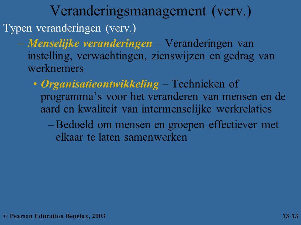 Typen veranderingen (verv.) –Menselijke veranderingen – Veranderingen van instelling, verwachtingen, zienswijzen en gedrag van werknemers Organisatieo