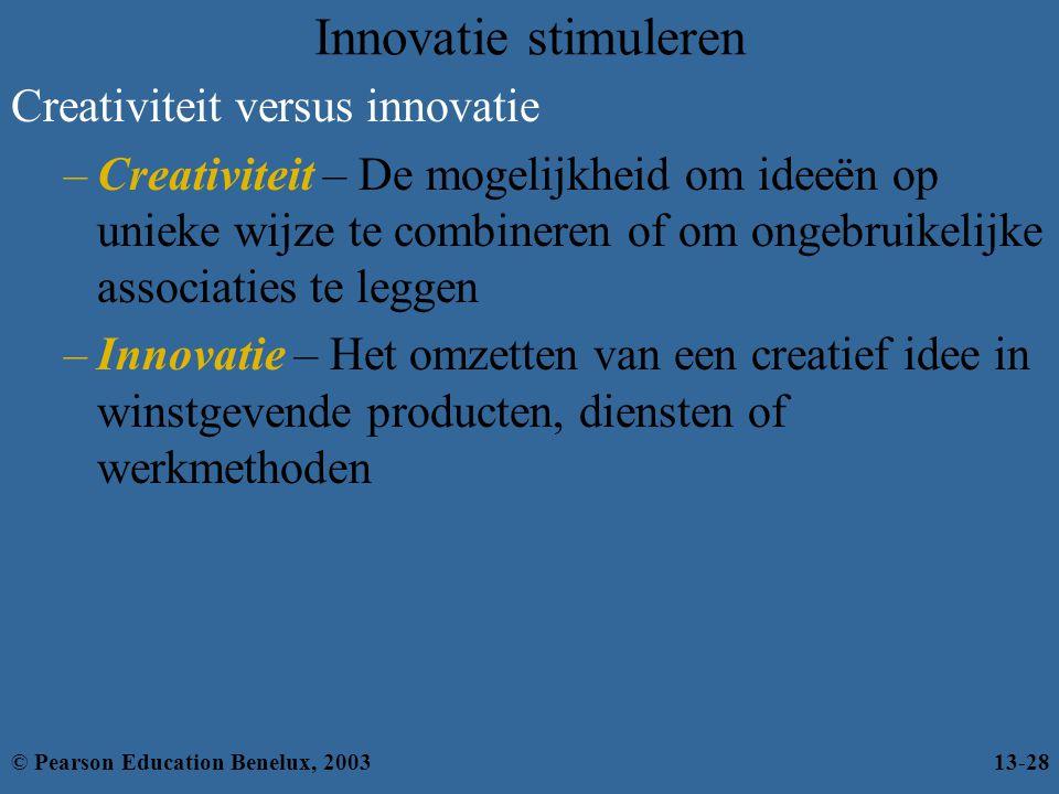 Innovatie stimuleren Creativiteit versus innovatie –Creativiteit – De mogelijkheid om ideeën op unieke wijze te combineren of om ongebruikelijke assoc