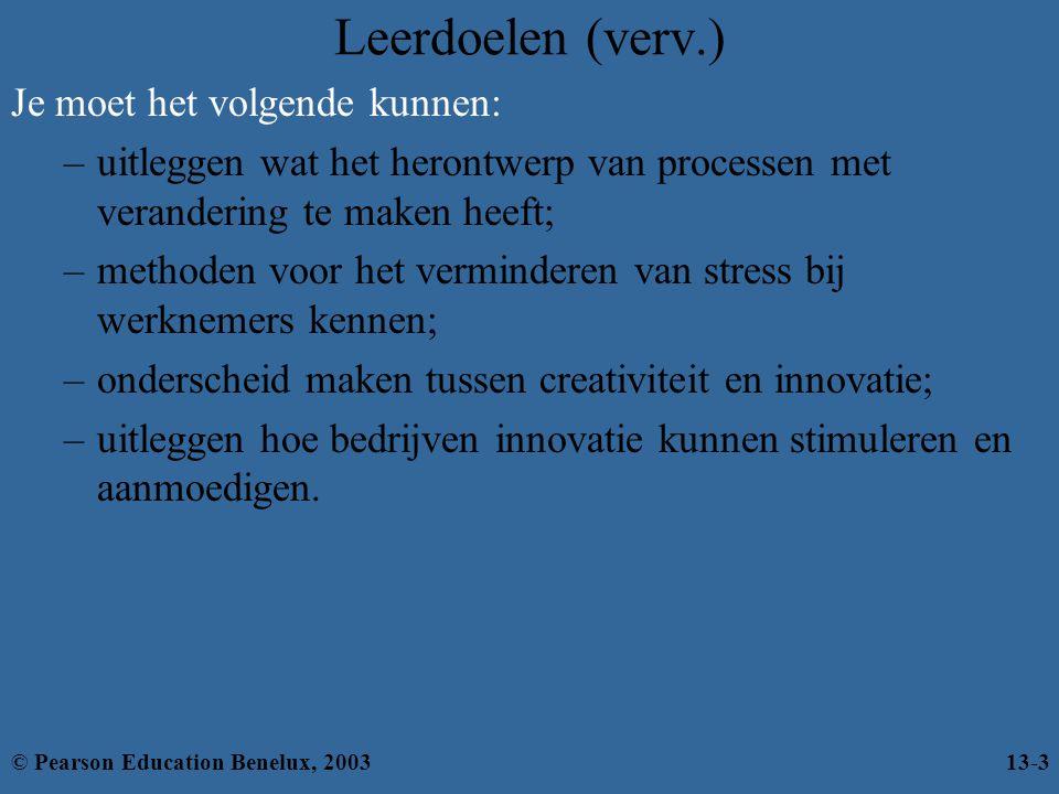 Oorzaken van stress Stress © Pearson Education Benelux, 200313-24 Persoonlijke factoren Aan werk gerelateerde factoren