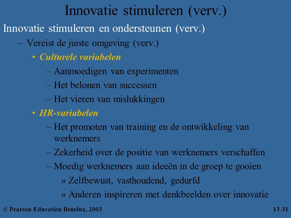 Innovatie stimuleren (verv.) Innovatie stimuleren en ondersteunen (verv.) –Vereist de juiste omgeving (verv.) Culturele variabelen –Aanmoedigen van ex