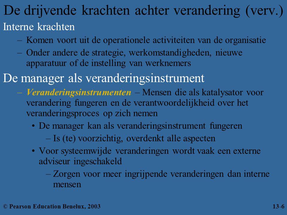 De drijvende krachten achter verandering (verv.) Interne krachten –Komen voort uit de operationele activiteiten van de organisatie –Onder andere de st