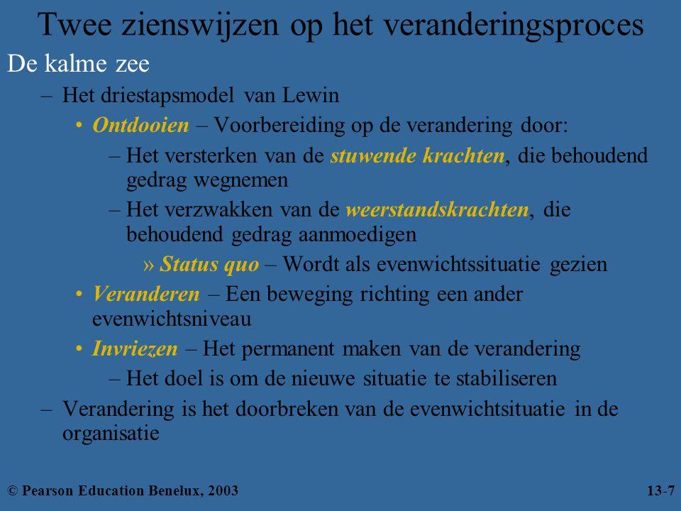 Innovatie stimuleren Creativiteit versus innovatie –Creativiteit – De mogelijkheid om ideeën op unieke wijze te combineren of om ongebruikelijke associaties te leggen –Innovatie – Het omzetten van een creatief idee in winstgevende producten, diensten of werkmethoden © Pearson Education Benelux, 200313-28