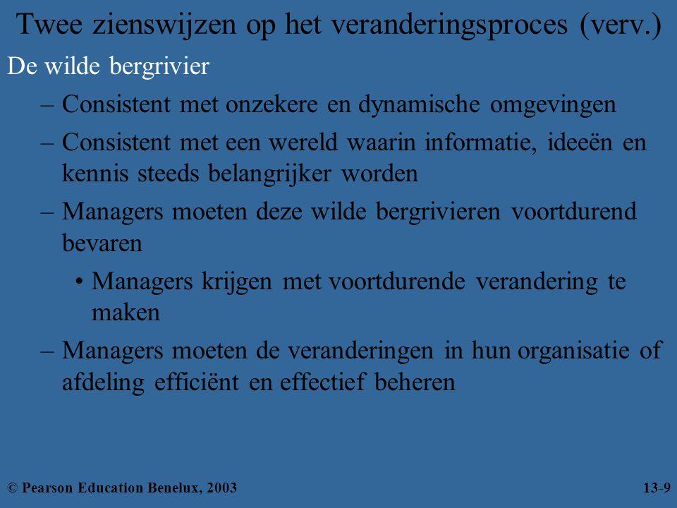 Innovatie stimuleren en ondersteunen –De meeste nadruk op de invoer Creatieve mensen en groepen in de organisatie –Vereist de juiste omgeving Structurele variabelen –Organisch ontwerp –Voldoende middelen –Veel communicatie tussen units Innovatie stimuleren (verv.) © Pearson Education Benelux, 200313-30