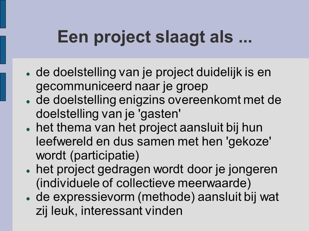 Een project slaagt als...