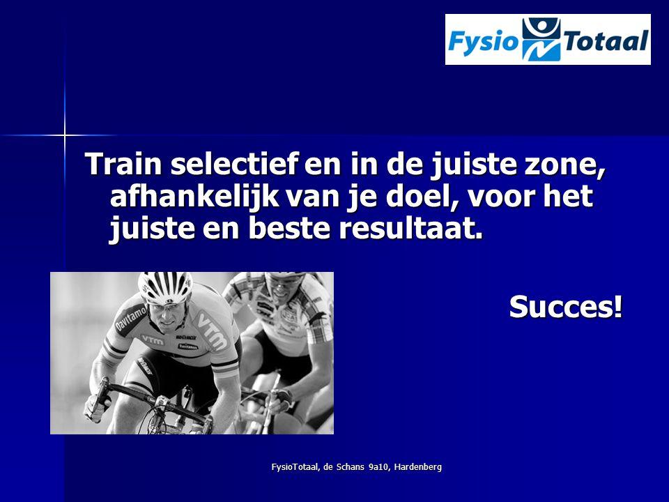 FysioTotaal, de Schans 9a10, Hardenberg Train selectief en in de juiste zone, afhankelijk van je doel, voor het juiste en beste resultaat. Succes!