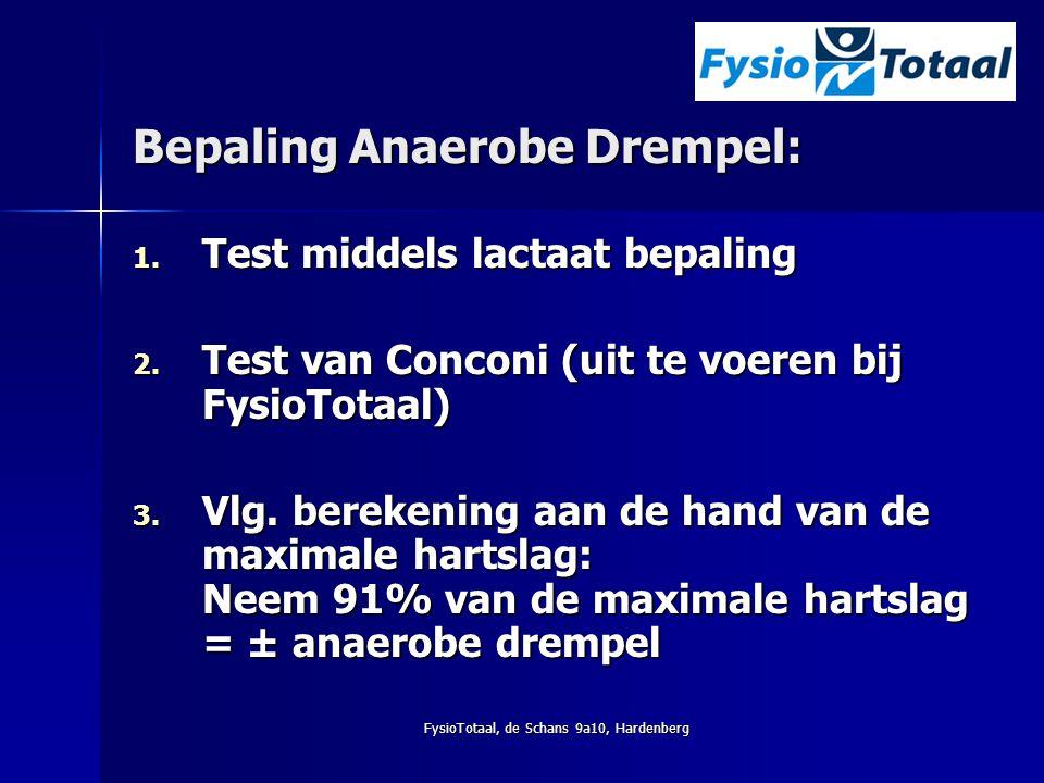 FysioTotaal, de Schans 9a10, Hardenberg Bepaling Anaerobe Drempel: 1. Test middels lactaat bepaling 2. Test van Conconi (uit te voeren bij FysioTotaal