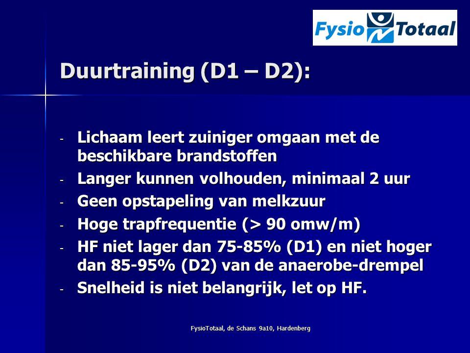 FysioTotaal, de Schans 9a10, Hardenberg Duurtraining (D1 – D2): - Lichaam leert zuiniger omgaan met de beschikbare brandstoffen - Langer kunnen volhou