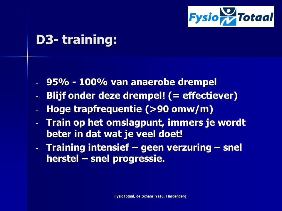 FysioTotaal, de Schans 9a10, Hardenberg D3- training: - 95% - 100% van anaerobe drempel - Blijf onder deze drempel! (= effectiever) - Hoge trapfrequen