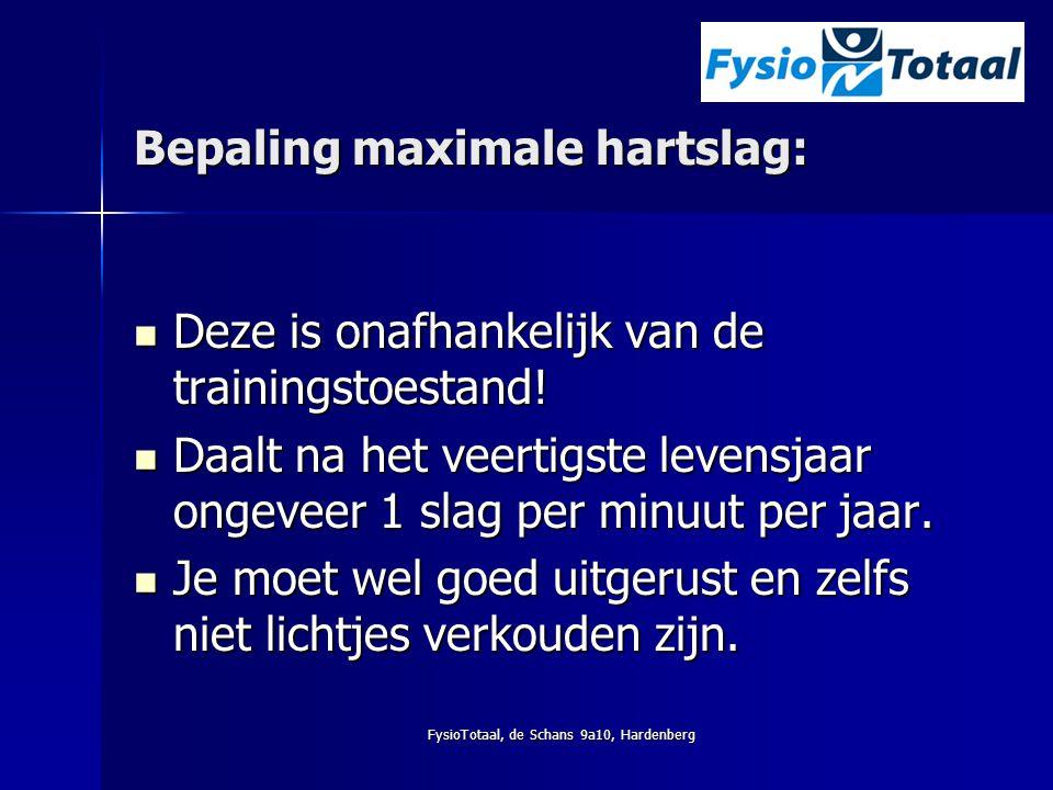 FysioTotaal, de Schans 9a10, Hardenberg Bepaling maximale hartslag: Deze is onafhankelijk van de trainingstoestand! Deze is onafhankelijk van de train