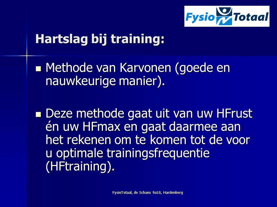 FysioTotaal, de Schans 9a10, Hardenberg Hartslag bij training: Methode van Karvonen (goede en nauwkeurige manier). Methode van Karvonen (goede en nauw