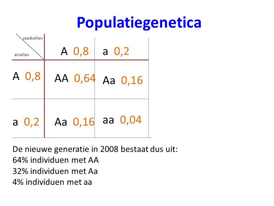 Populatiegenetica zaadcellen eicellen A 0,8 Aa 0,16 aa 0,04 AA 0,64 a 0,2 De nieuwe generatie in 2008 bestaat dus uit: 64% individuen met AA 32% indiv