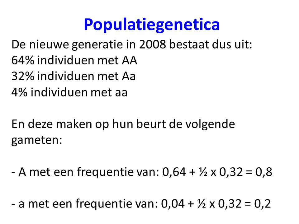 Populatiegenetica De nieuwe generatie in 2008 bestaat dus uit: 64% individuen met AA 32% individuen met Aa 4% individuen met aa En deze maken op hun b