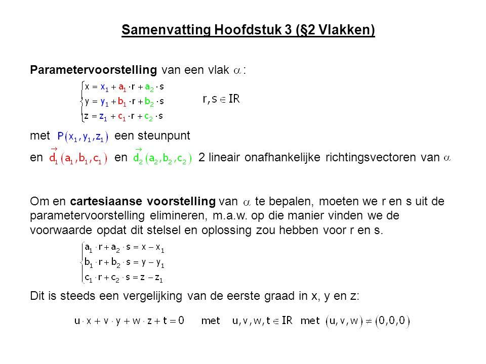 Samenvatting Hoofdstuk 3 (§2 Vlakken) Parametervoorstelling van een vlak : met een steunpunt en en 2 lineair onafhankelijke richtingsvectoren van Om e