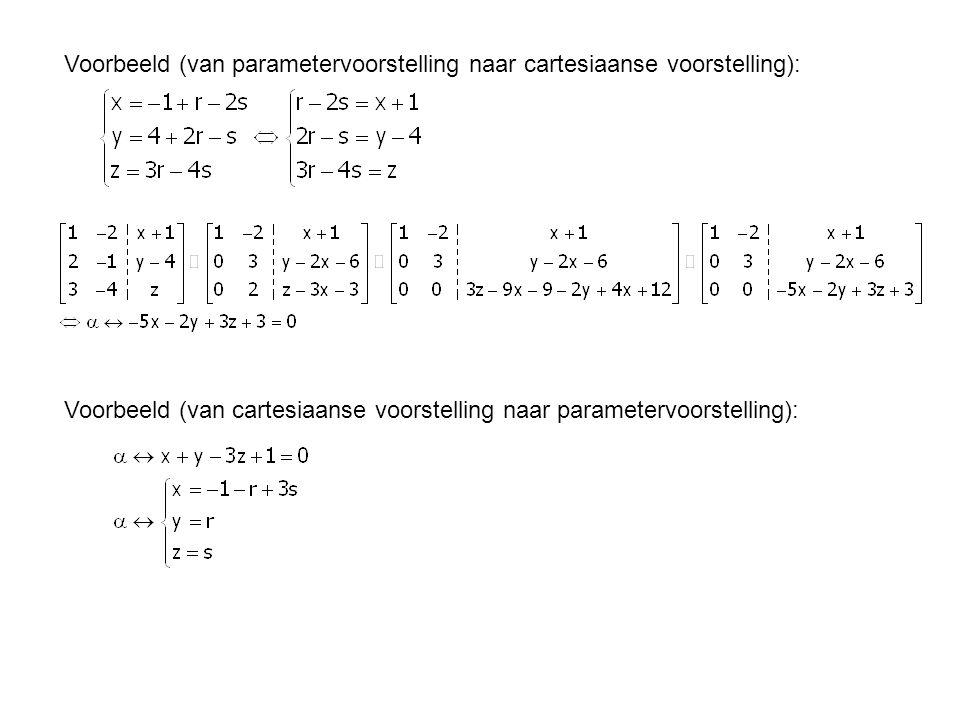 Voorbeeld (van parametervoorstelling naar cartesiaanse voorstelling): Voorbeeld (van cartesiaanse voorstelling naar parametervoorstelling):