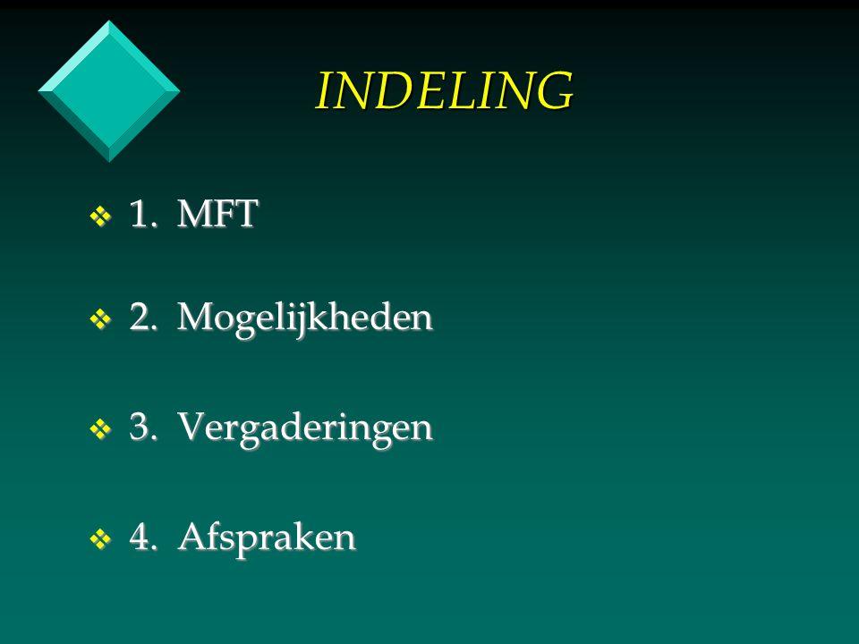 INDELING v 1. MFT v 2. Mogelijkheden v 3. Vergaderingen v 4. Afspraken