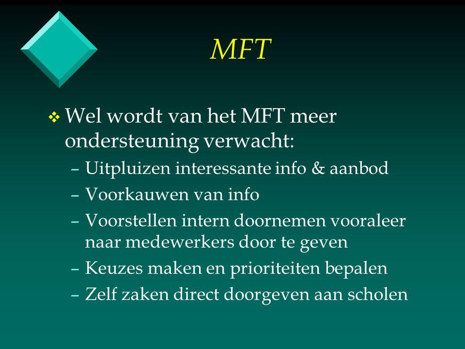 MFT v v Vervolg: qua ondersteuning: – –Duidelijker maken voor scholen hoeveel tijd er beschikbaar is – –Vnl.
