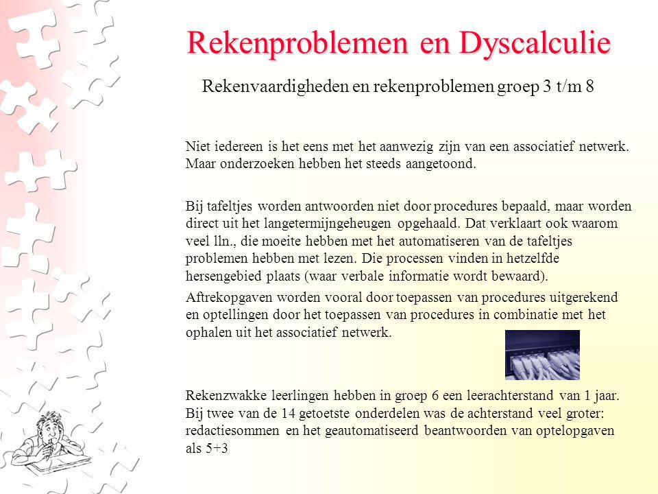Rekenproblemen en Dyscalculie Niet iedereen is het eens met het aanwezig zijn van een associatief netwerk.