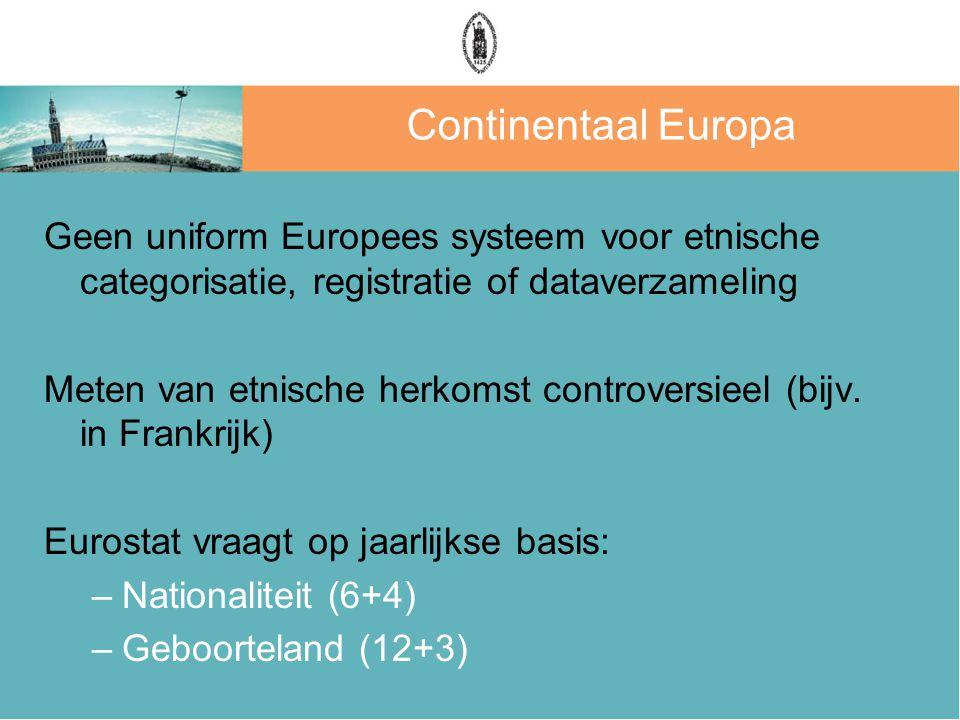 Continentaal Europa Geen uniform Europees systeem voor etnische categorisatie, registratie of dataverzameling Meten van etnische herkomst controversieel (bijv.