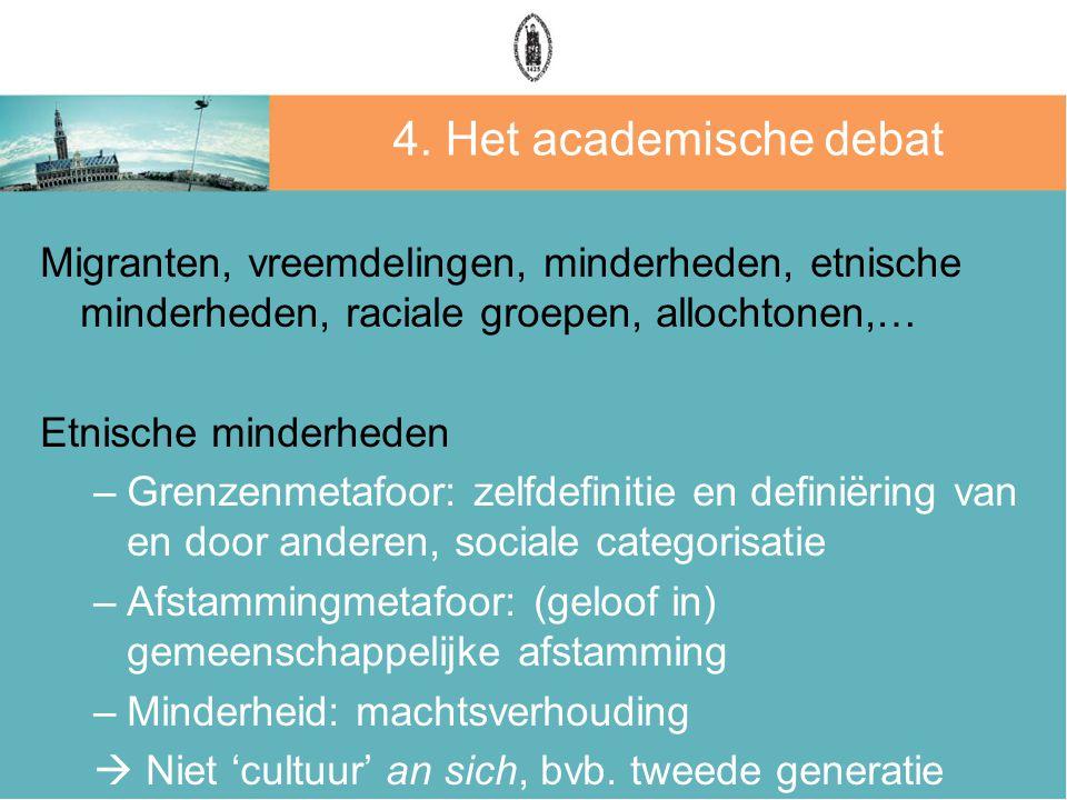 4. Het academische debat Migranten, vreemdelingen, minderheden, etnische minderheden, raciale groepen, allochtonen,… Etnische minderheden –Grenzenmeta
