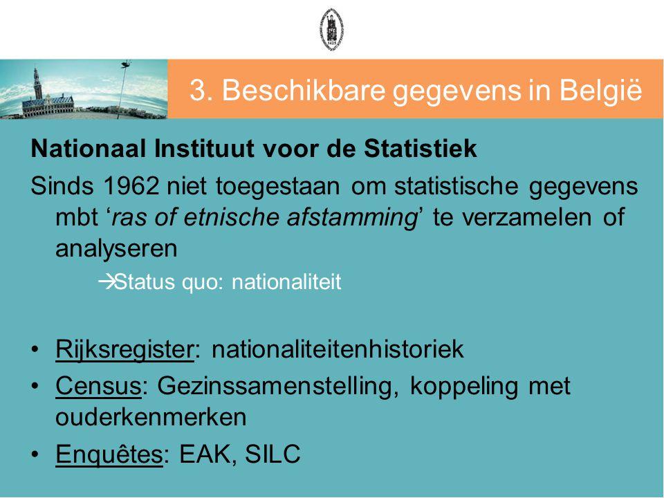 3. Beschikbare gegevens in België Nationaal Instituut voor de Statistiek Sinds 1962 niet toegestaan om statistische gegevens mbt 'ras of etnische afst