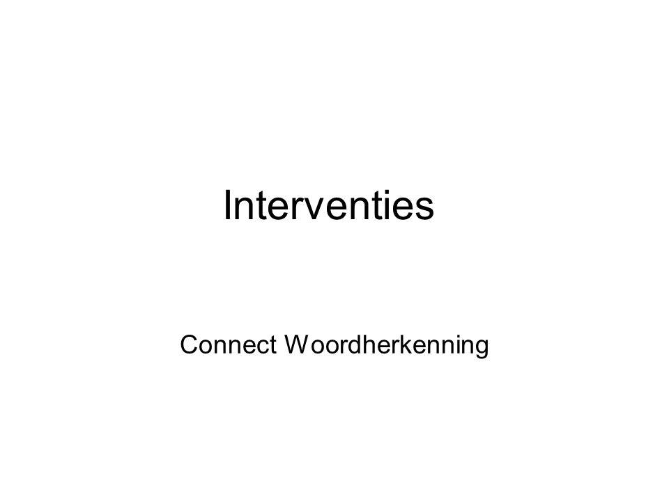 Interventies Connect Woordherkenning