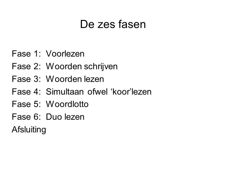De zes fasen Fase 1: Voorlezen Fase 2: Woorden schrijven Fase 3: Woorden lezen Fase 4: Simultaan ofwel 'koor'lezen Fase 5: Woordlotto Fase 6: Duo leze