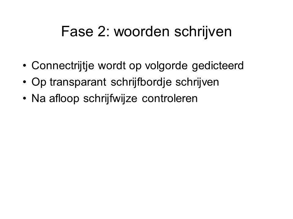 Fase 2: woorden schrijven Connectrijtje wordt op volgorde gedicteerd Op transparant schrijfbordje schrijven Na afloop schrijfwijze controleren