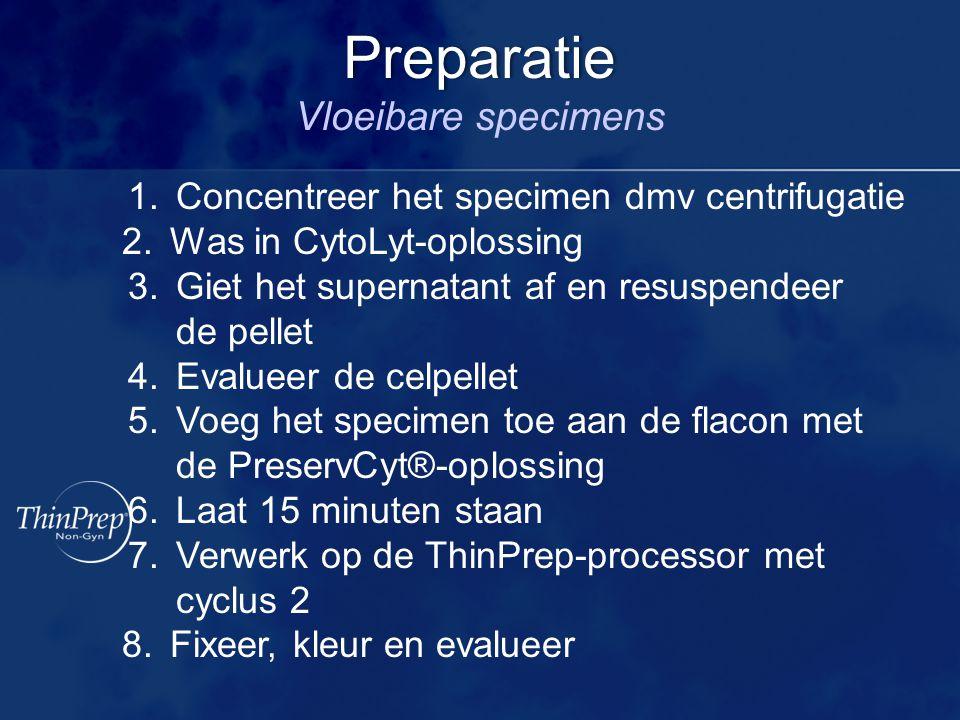 1.Concentreer het specimen dmv centrifugatie 2.Was in CytoLyt-oplossing 3.Giet het supernatant af en resuspendeer de pellet 4.Evalueer de celpellet 5.