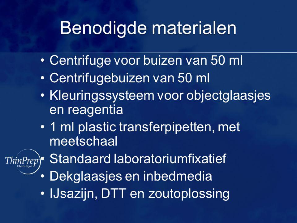 Benodigde materialen Centrifuge voor buizen van 50 ml Centrifugebuizen van 50 ml Kleuringssysteem voor objectglaasjes en reagentia 1 ml plastic transf
