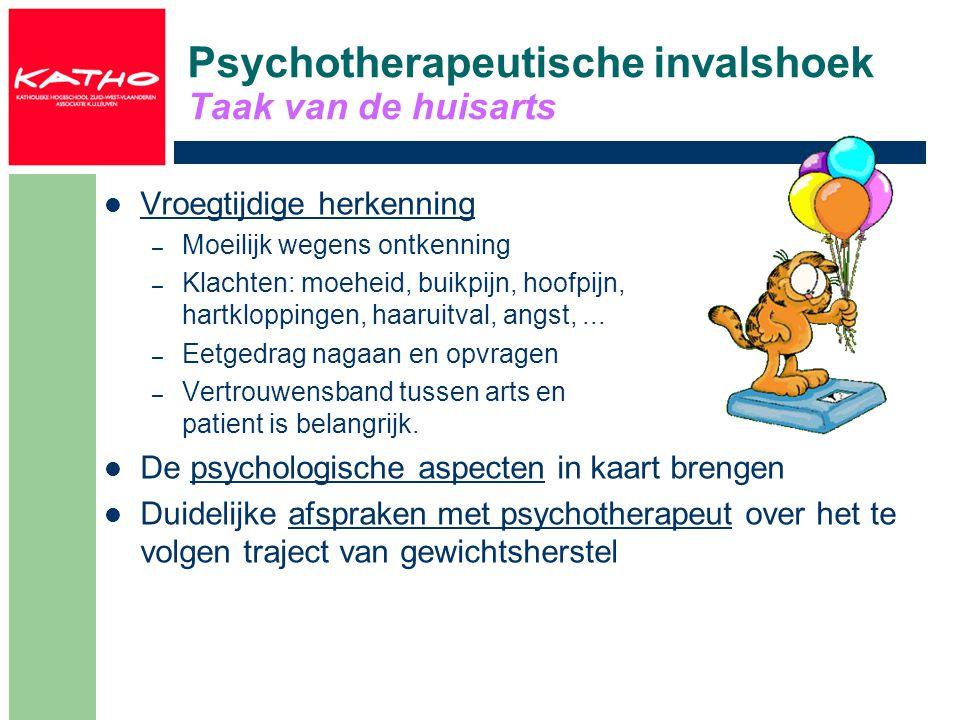 Psychotherapeutische invalshoek Vormen van psychotherapie Gedragspatroon veranderen – In kaart brengen van de voor- en de nadelen – Voorlichting die aansluit bij kennisniveau Straf- en beloningssysteem werkt niet Cognitieve gedragstherapie – Technieken om het veranderen van irrationele gedachten die leiden tot de stoornis – Vooral effektief bij boulimia Gezinstherapie – Betrekken van de ouders – Vooral effektief bij anorexia – Vooral voor jonge patiënten en korte ziekteduur