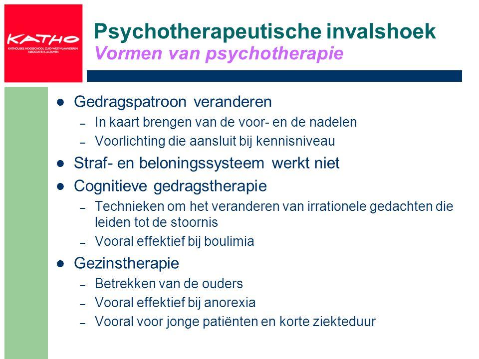 Psychotherapeutische invalshoek Vormen van psychotherapie Gedragspatroon veranderen – In kaart brengen van de voor- en de nadelen – Voorlichting die a
