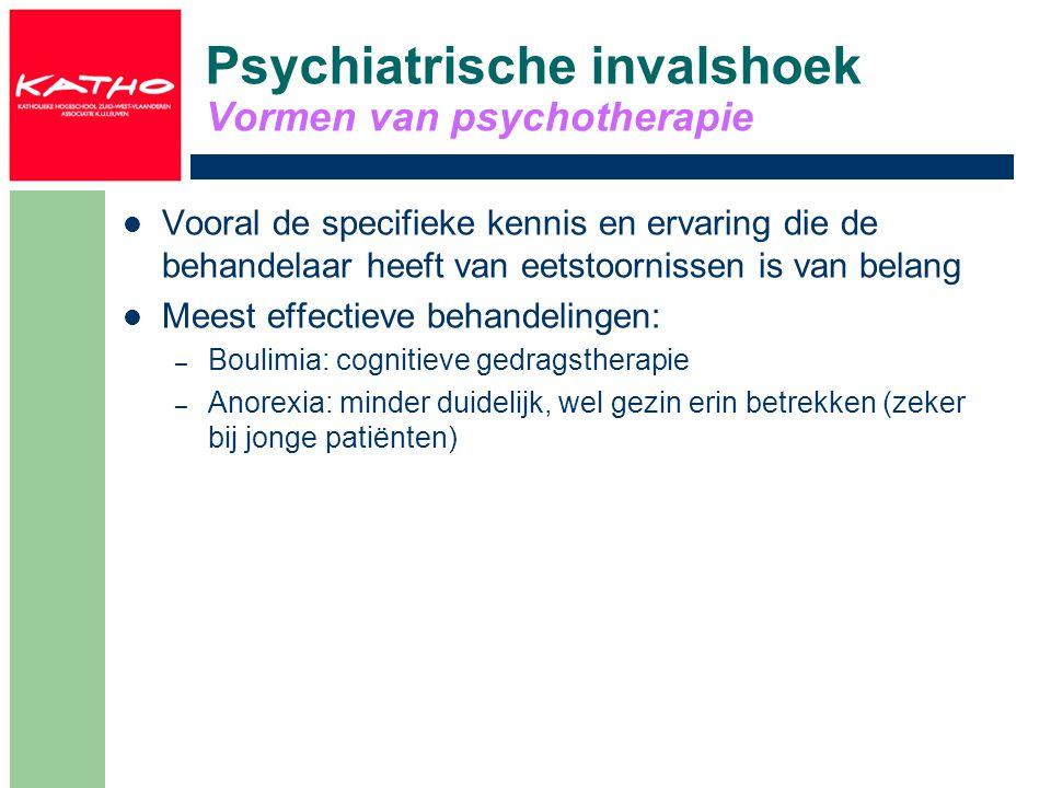 Psychiatrische invalshoek Vormen van psychotherapie Vooral de specifieke kennis en ervaring die de behandelaar heeft van eetstoornissen is van belang