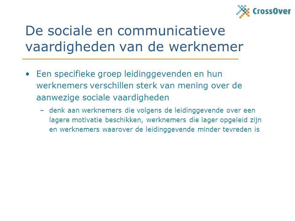 De sociale en communicatieve vaardigheden van de werknemer Een specifieke groep leidinggevenden en hun werknemers verschillen sterk van mening over de