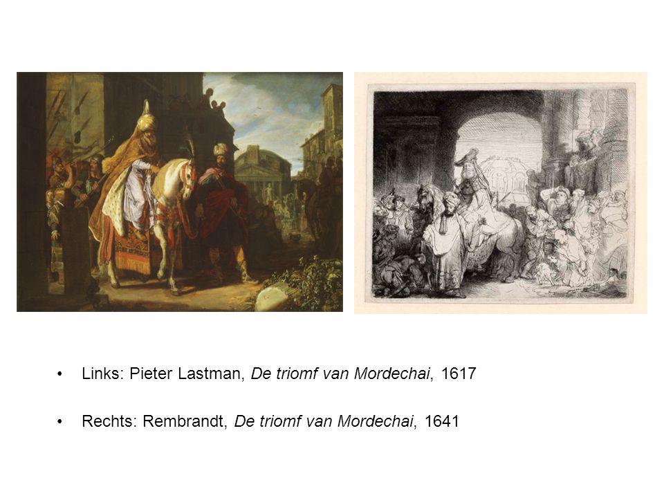 Links: Pieter Lastman, De triomf van Mordechai, 1617 Rechts: Rembrandt, De triomf van Mordechai, 1641