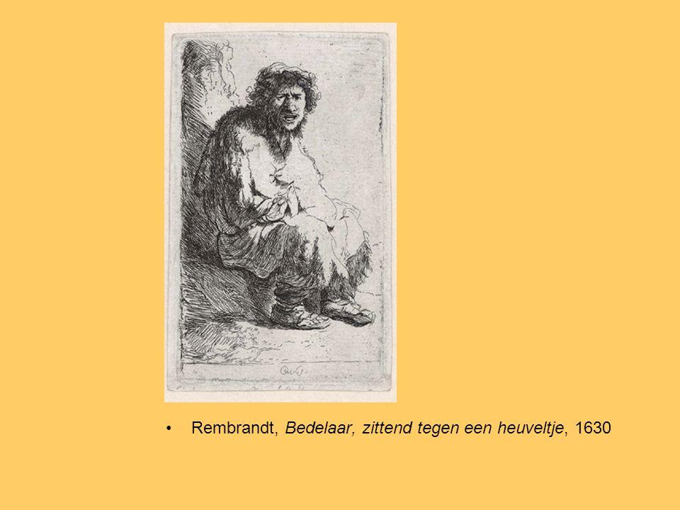 Rembrandt, Bedelaar, zittend tegen een heuveltje, 1630