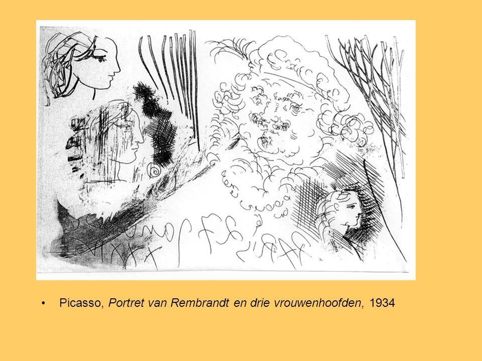 Picasso, Portret van Rembrandt en drie vrouwenhoofden, 1934