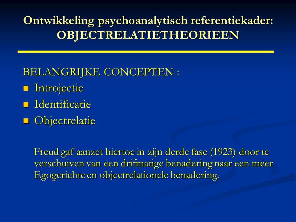 Ontwikkeling psychoanalytisch referentiekader: OBJECTRELATIETHEORIEEN BELANGRIJKE CONCEPTEN : Introjectie Introjectie Identificatie Identificatie Obje